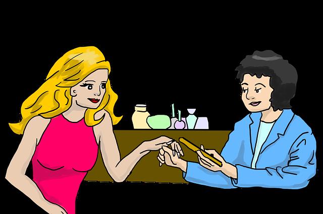 žena na manikúře